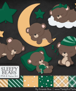 Emerald Sleepy Bears Clipart & Paper Vectors
