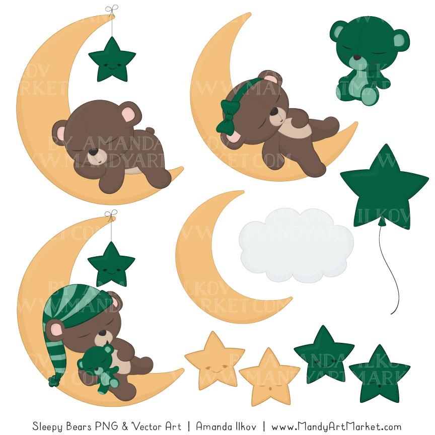 Emerald Sleepy Bears Clipart & Paper Vectors