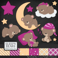 Fuchsia Sleepy Bears Clipart & Paper Vectors