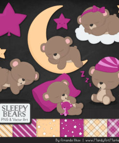 Fuchsia Sleepy Bears Clipart & Paper Vectors