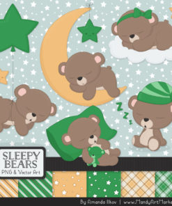 Green Sleepy Bears Clipart & Paper Vectors