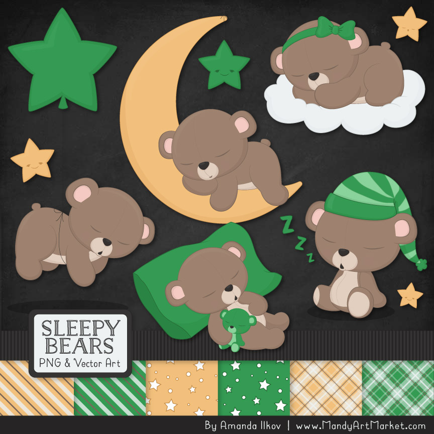 Green Sleepy Bears Clipart & Paper Vectors