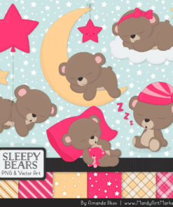 Hot Pink Sleepy Bears Clipart & Paper Vectors
