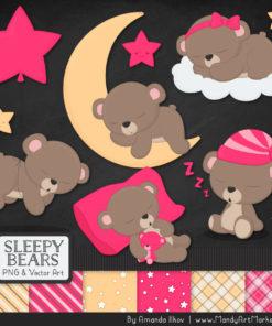 Hot Pink Sleepy Bears Clipart & Paper Vectors