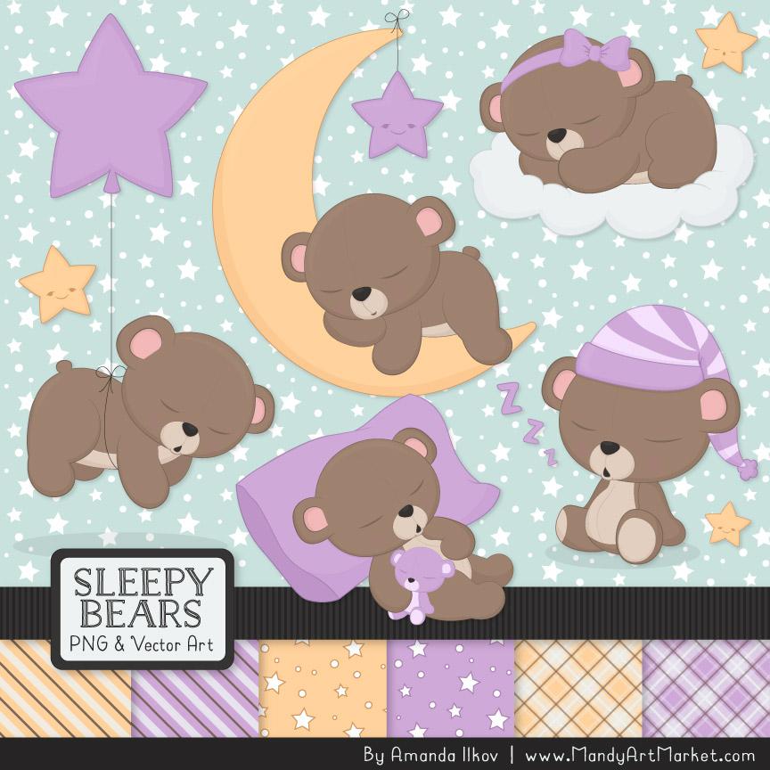 Lavender Sleepy Bears Clipart & Paper Vectors