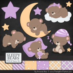 Lavender Sleepy Bears Clipart & Paper Vectors