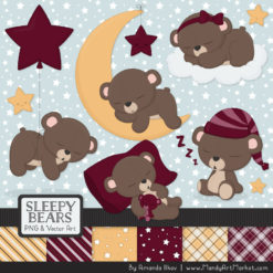 Merlot Sleepy Bears Clipart & Paper Vectors
