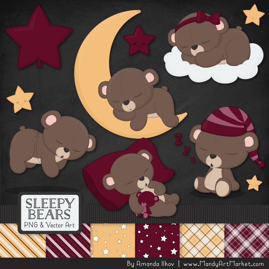 Merlot Sleepy Bears Clipart & Paper Vectors