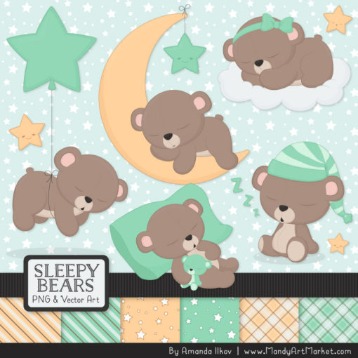 Mint Sleepy Bears Clipart & Paper Vectors