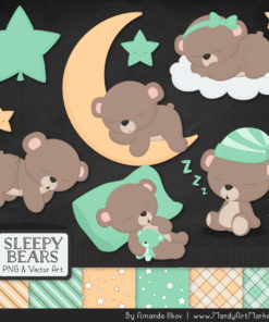 Mint Sleepy Bears Clipart & Paper Vectors