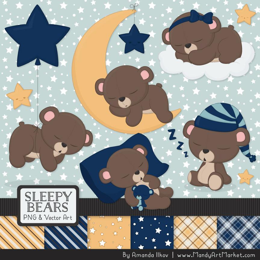 Navy Sleepy Bears Clipart & Paper Vectors