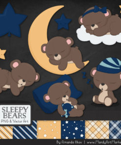 Navy Sleepy Bears Clipart & Paper Vectors