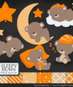 Orange Sleepy Bears Clipart & Paper Vectors