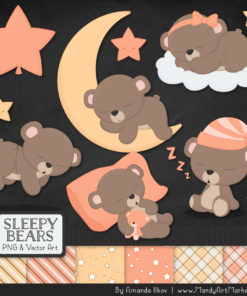 Peach Sleepy Bears Clipart & Paper Vectors
