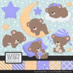 Periwinkle Sleepy Bears Clipart & Paper Vectors