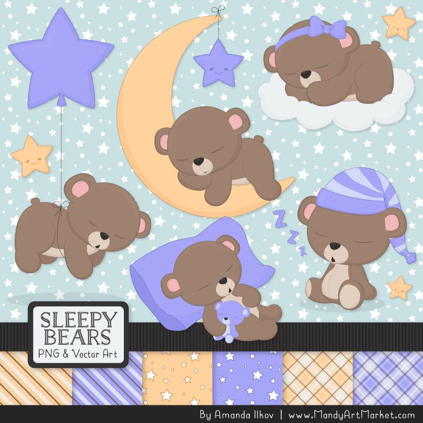 Periwinkle Sleepy Bears Clipart & Paper Vectors