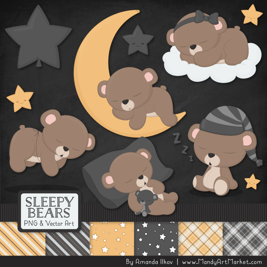 Pewter Sleepy Bears Clipart & Paper Vectors