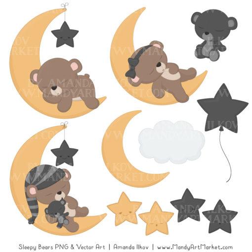 Pewter Sleepy Bears Clipart & Paper Vectors