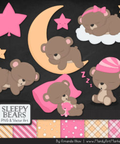 Pink Sleepy Bears Clipart & Paper Vectors