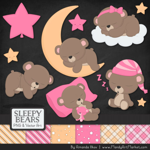 Pink Sleepy Bears Clipart & Paper Vectors