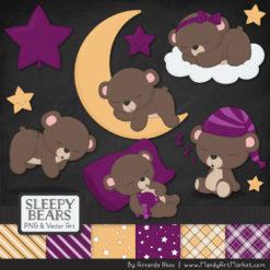 Plum Sleepy Bears Clipart & Paper Vectors