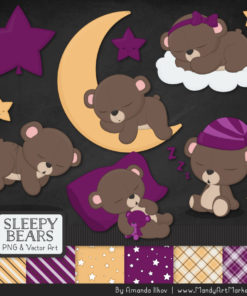 Plum Sleepy Bears Clipart & Paper Vectors