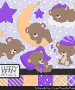 Purple Sleepy Bears Clipart & Paper Vectors