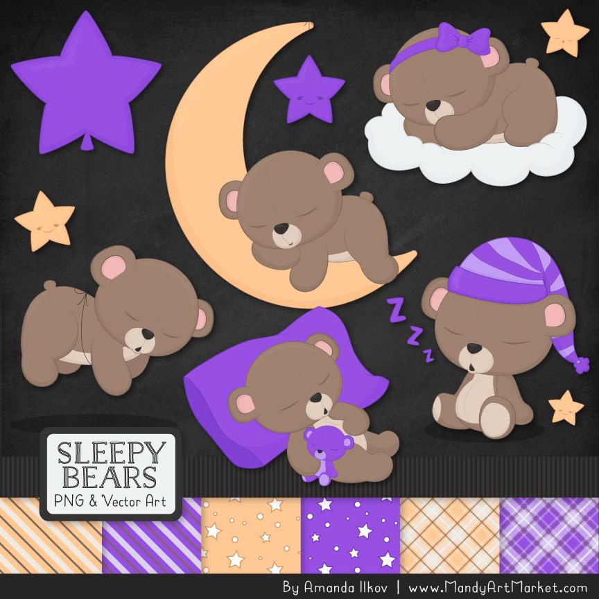 Purple Sleepy Bears Clipart & Paper Vectors