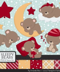 Ruby Sleepy Bears Clipart & Paper Vectors