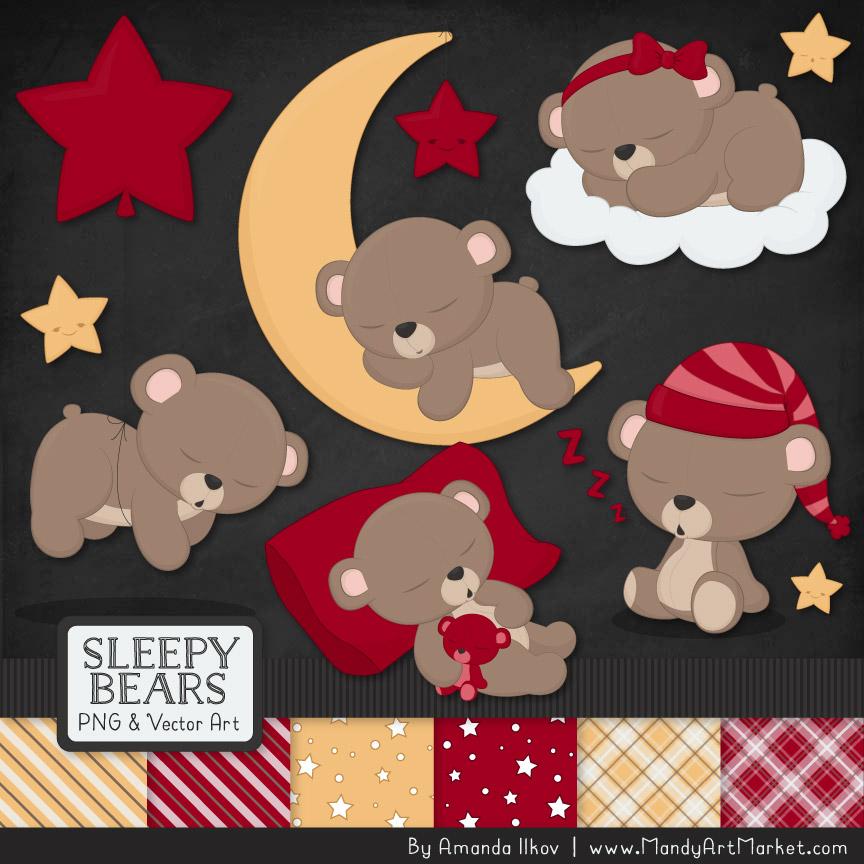 Ruby Sleepy Bears Clipart & Paper Vectors