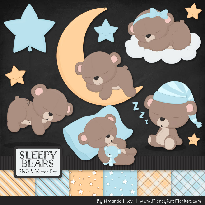 Soft Blue Sleepy Bears Clipart & Paper Vectors