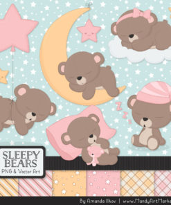 Soft Pink Sleepy Bears Clipart & Paper Vectors