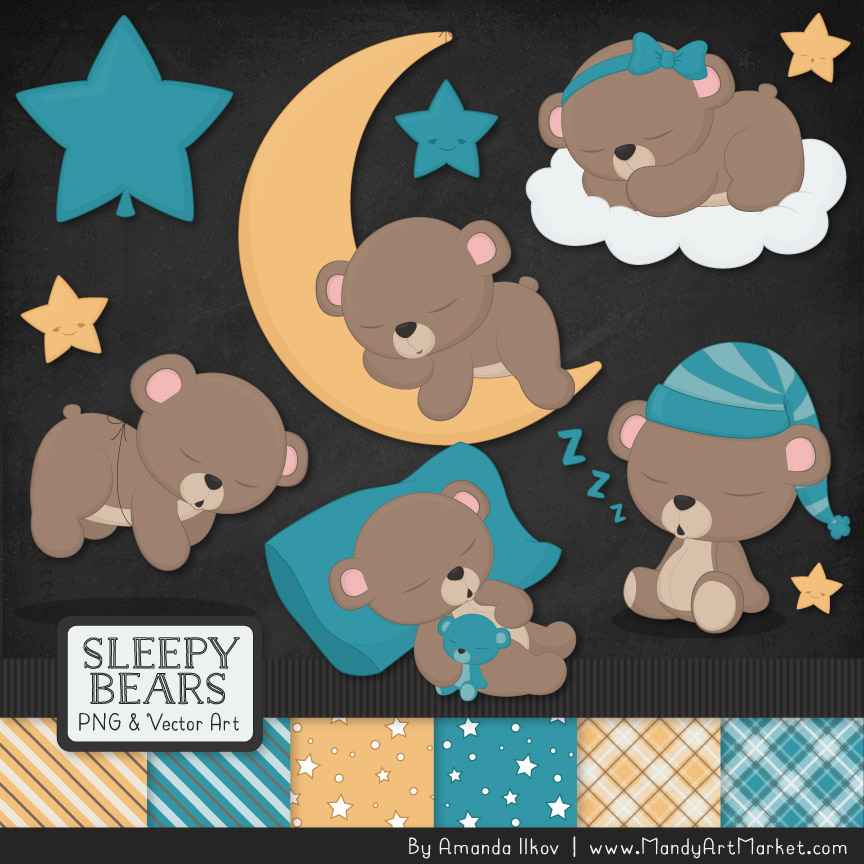 Vintage Blue Sleepy Bears Clipart & Paper Vectors