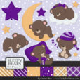 Violet Sleepy Bears Clipart & Paper Vectors