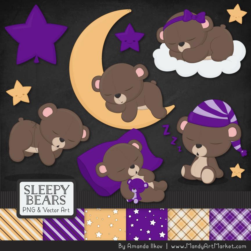 Violet Sleepy Bears Clipart & Paper Vectors