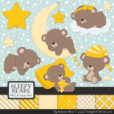 Yellow Sleepy Bears Clipart & Paper Vectors
