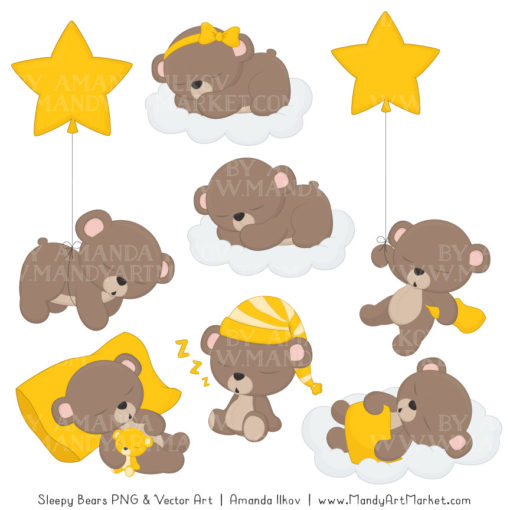 Yellow Sleepy Bears Clipart & Paper Vectors