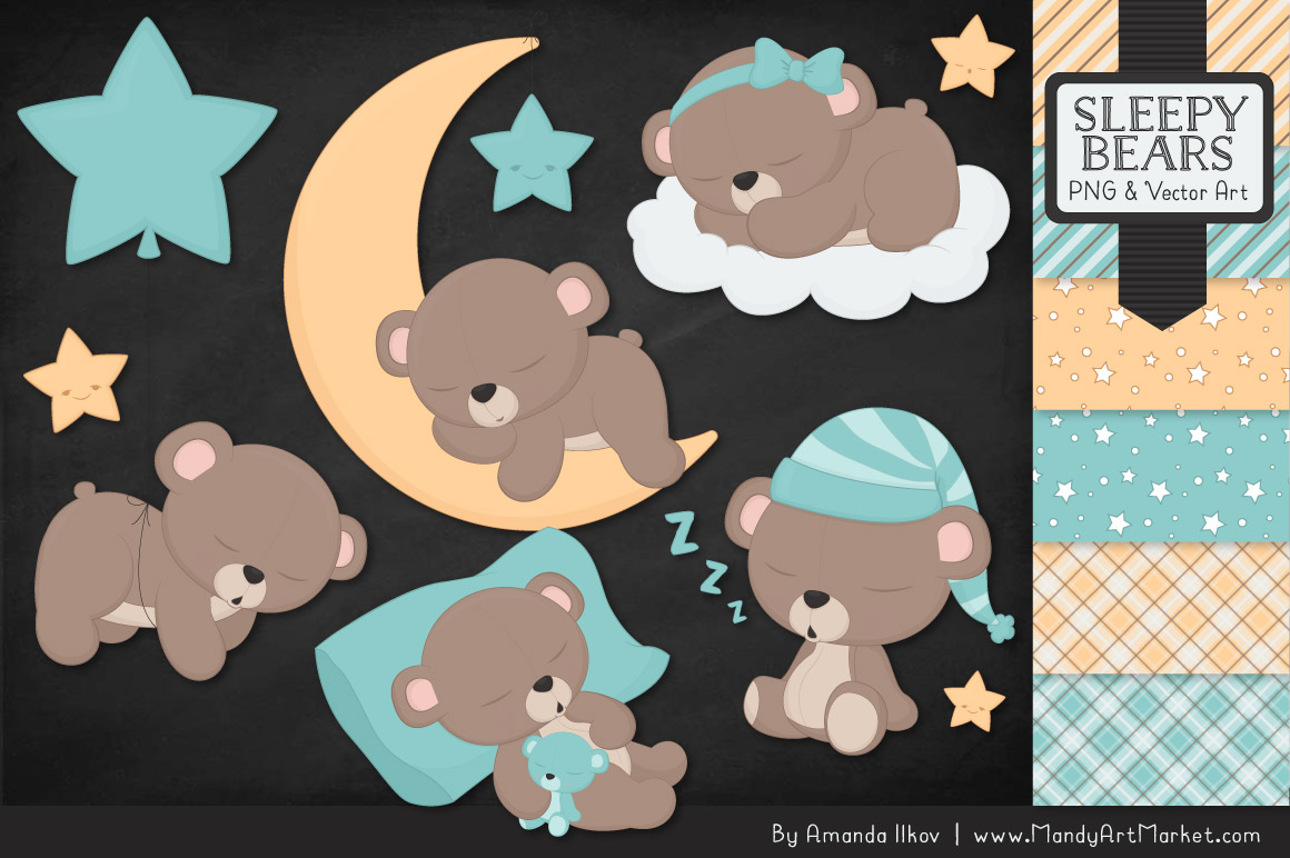 Sleeping Bears Clipart 1