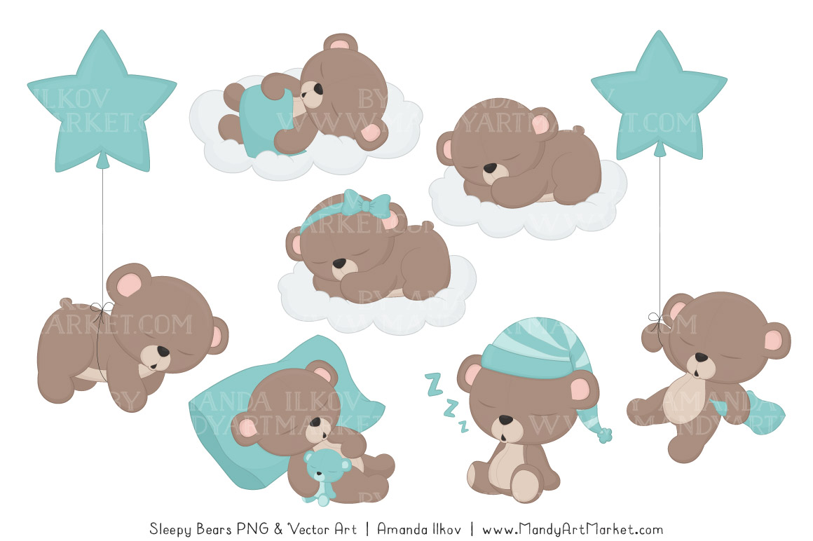 Sleeping Bears Clipart 2