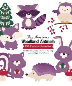 Amethyst Woodland Animals Clipart