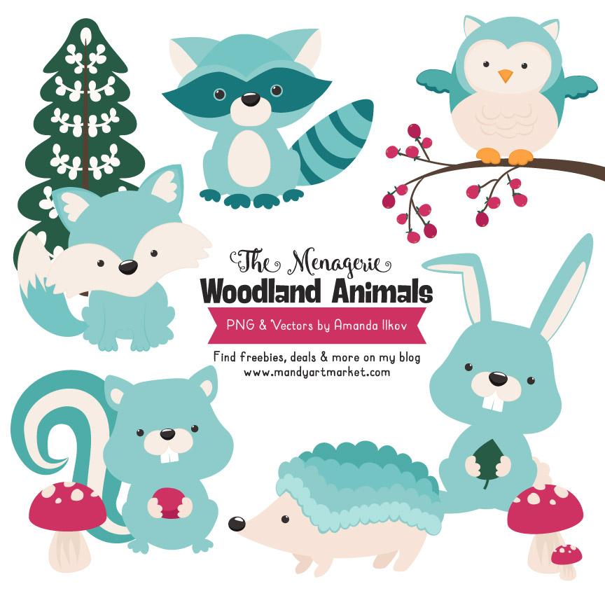 Aqua Woodland Animals Clipart