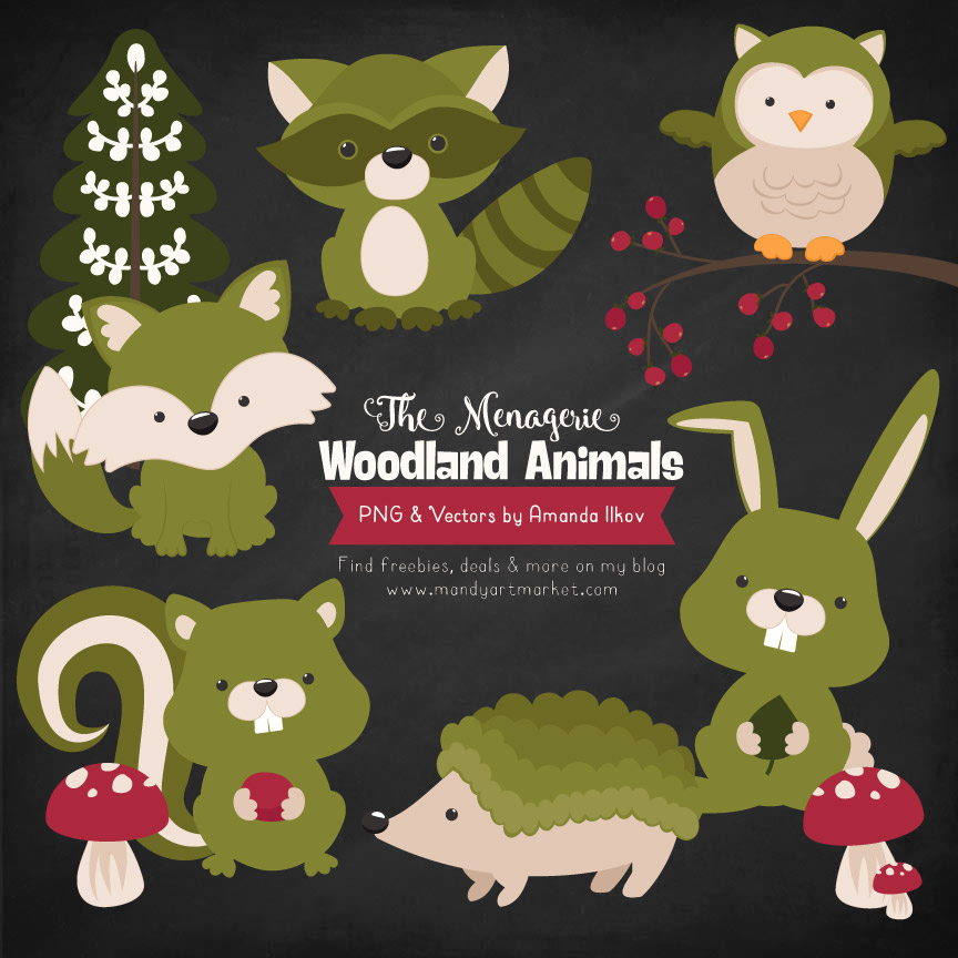Avocado Woodland Animals Clipart