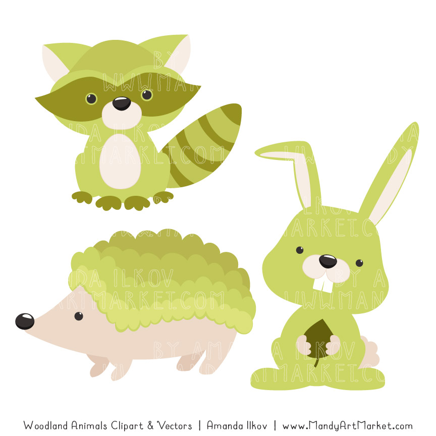 Bamboo Woodland Animals Clipart