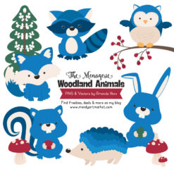 Blue Woodland Animals Clipart