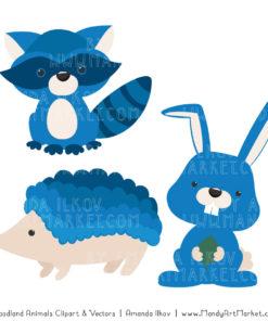 Blue Woodland Animals Clipart