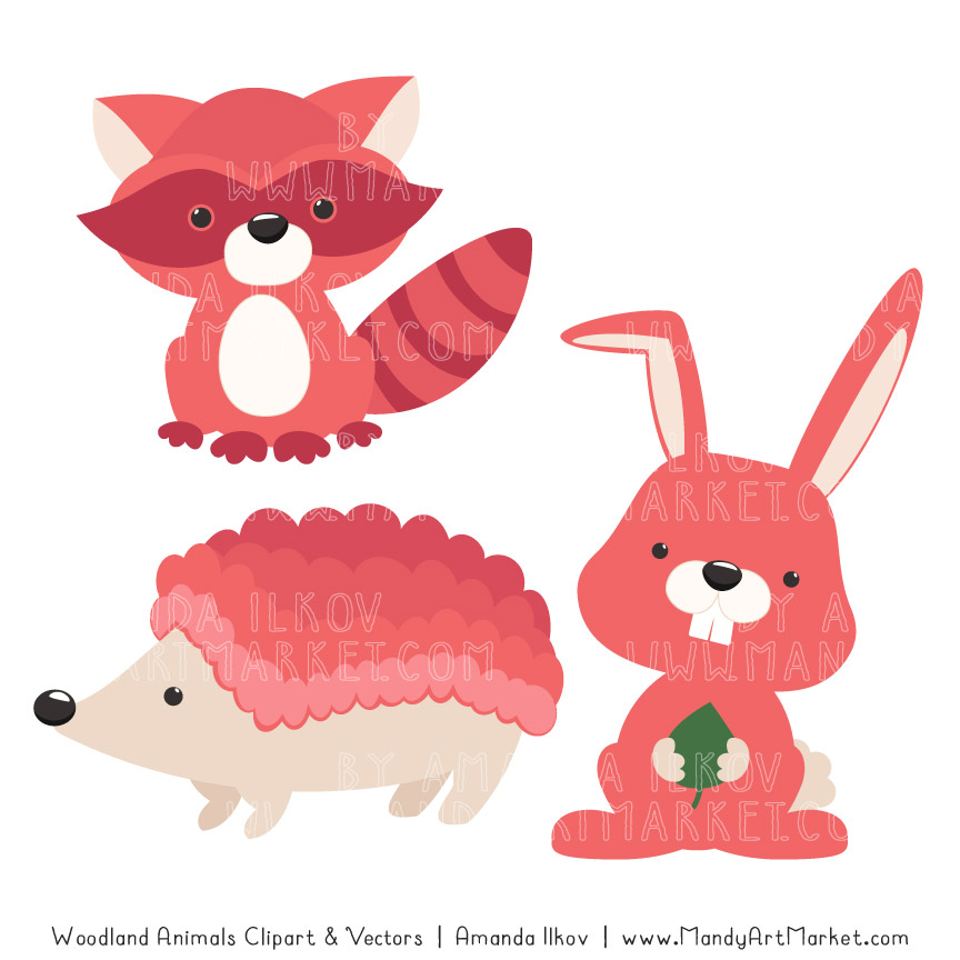 Coral Woodland Animals Clipart