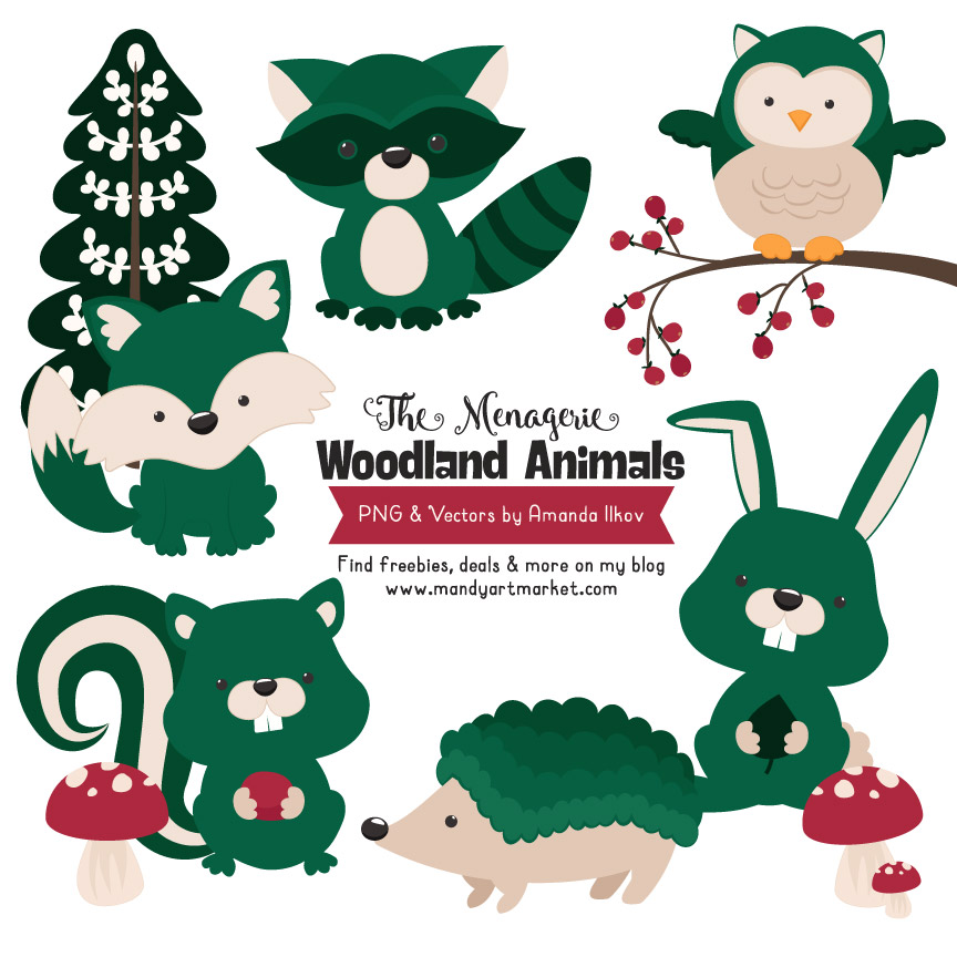 Emerald Woodland Animals Clipart