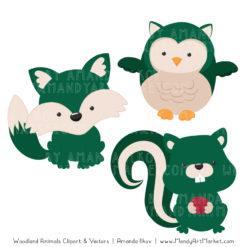 Emerald Woodland Animals Clipart