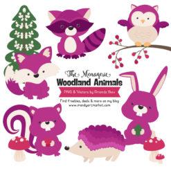 Fuchsia Woodland Animals Clipart