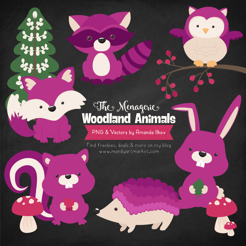 Fuchsia Woodland Animals Clipart
